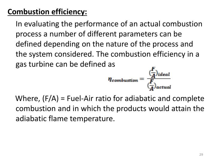 Combustion efficiency: