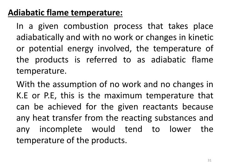 Adiabatic flame temperature: