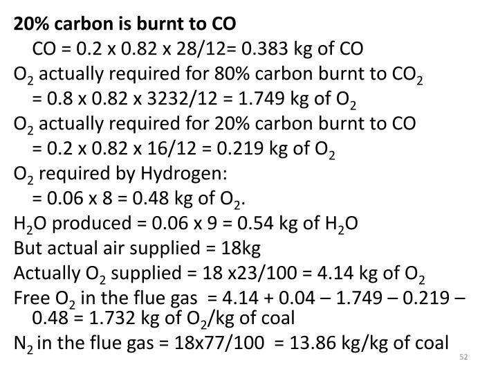 20% carbon is burnt to CO