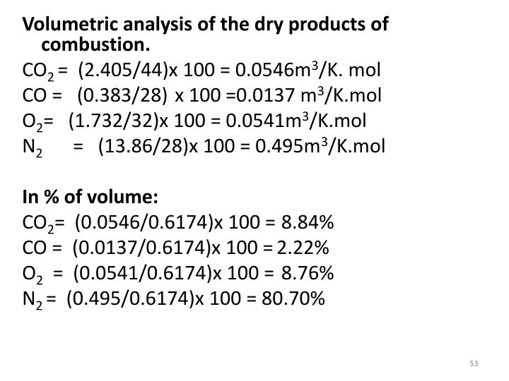 Volumetric analysis of the dry products of combustion.