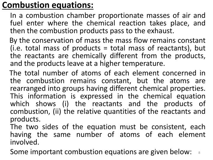 Combustion equations: