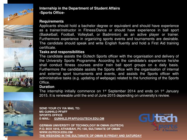 Internship in the Department of Student Affairs