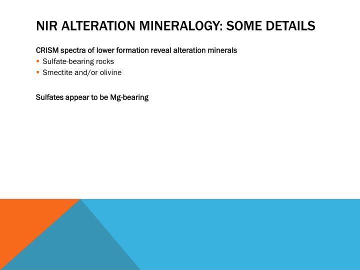 NIR alteration mineralogy: