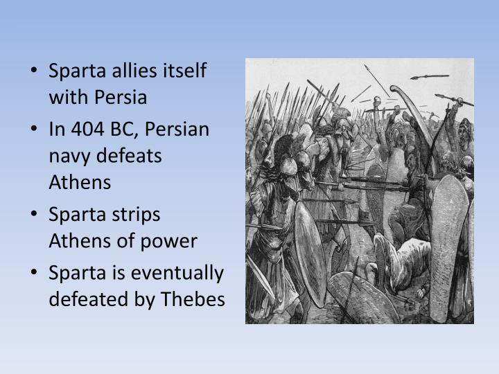 Sparta allies itself with Persia