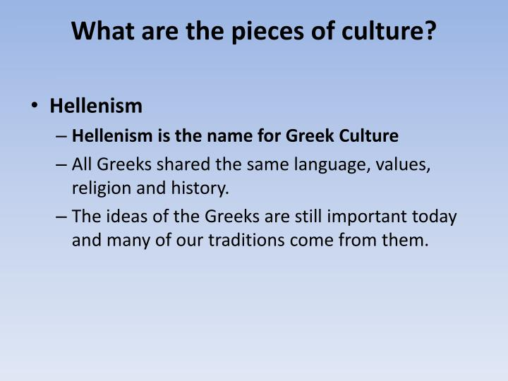 What are the pieces of culture?