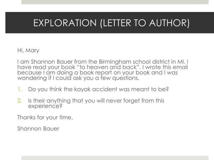 EXPLORATION (LETTER TO AUTHOR)
