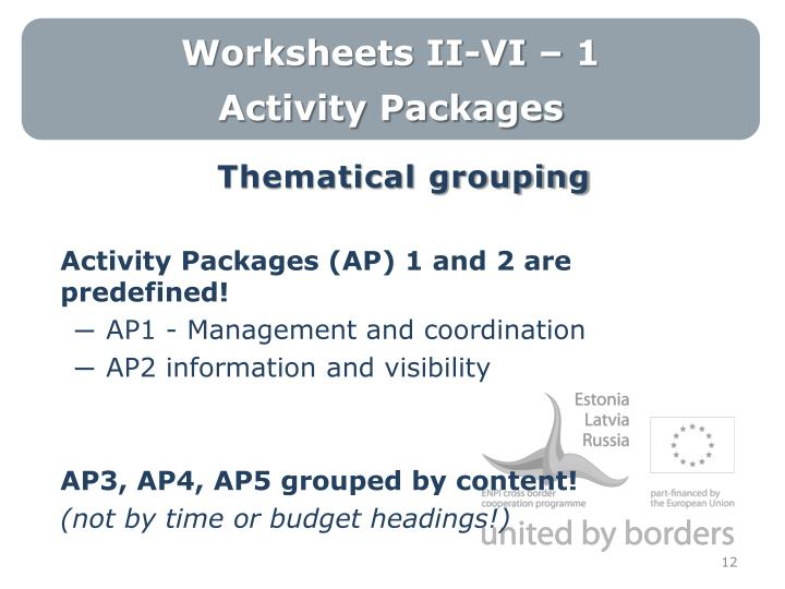 Worksheets II-VI – 1