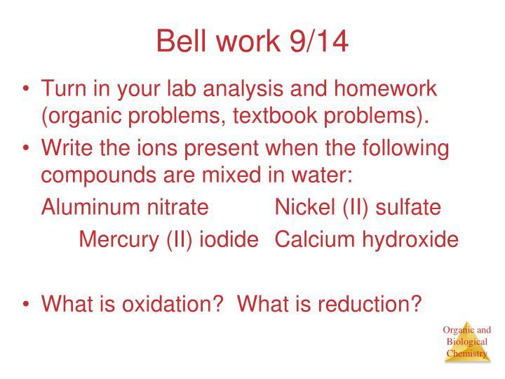 Bell work 9/14