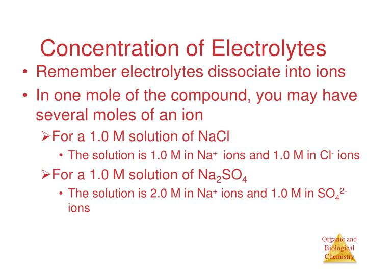 Concentration of Electrolytes