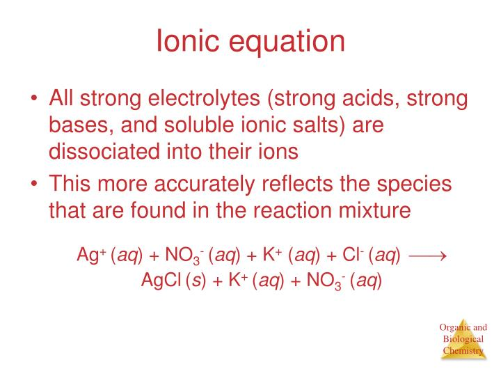 Ionic equation