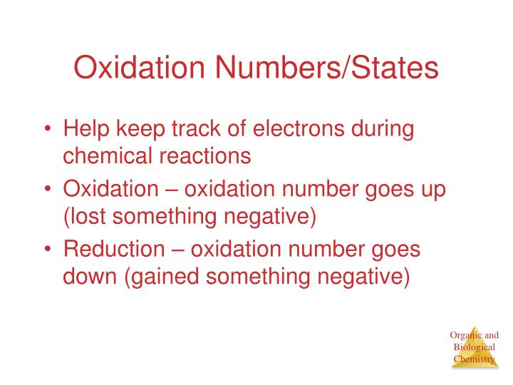 Oxidation Numbers/States