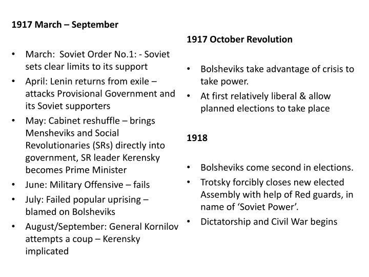 1917 March – September