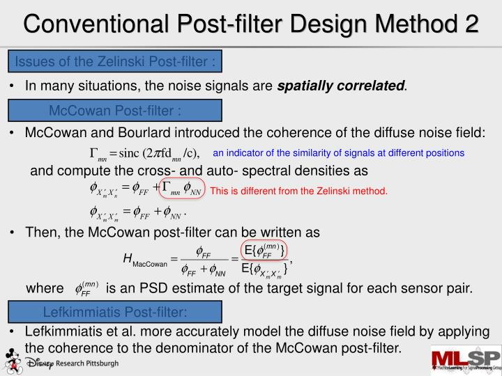 Conventional Post-filter Design Method 2