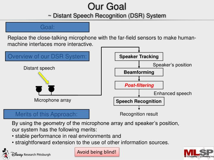 Our goal distant speech recognition dsr system