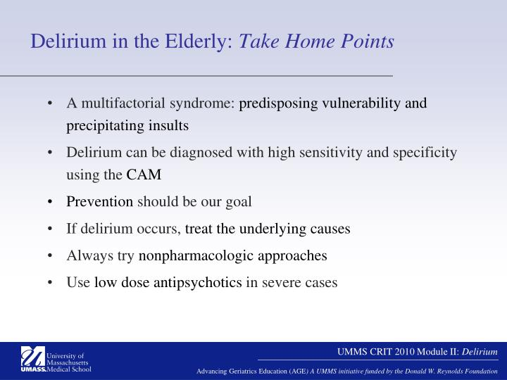 Delirium in the Elderly: