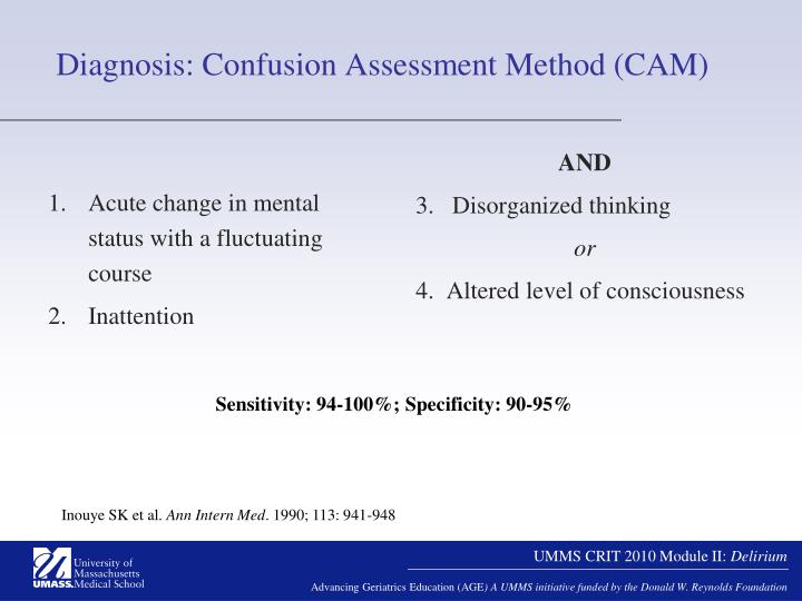 Diagnosis: Confusion Assessment Method (CAM)