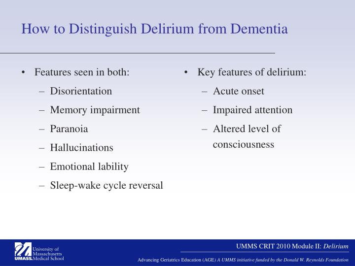 How to Distinguish Delirium from Dementia