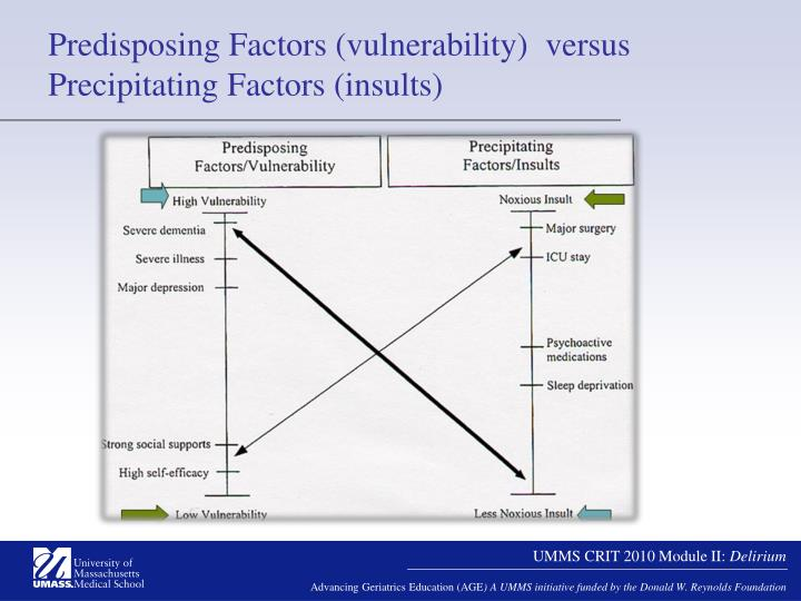 Predisposing Factors (vulnerability)  versus Precipitating Factors (insults)