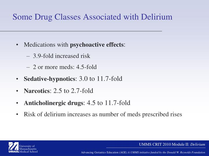 Some Drug Classes Associated with Delirium