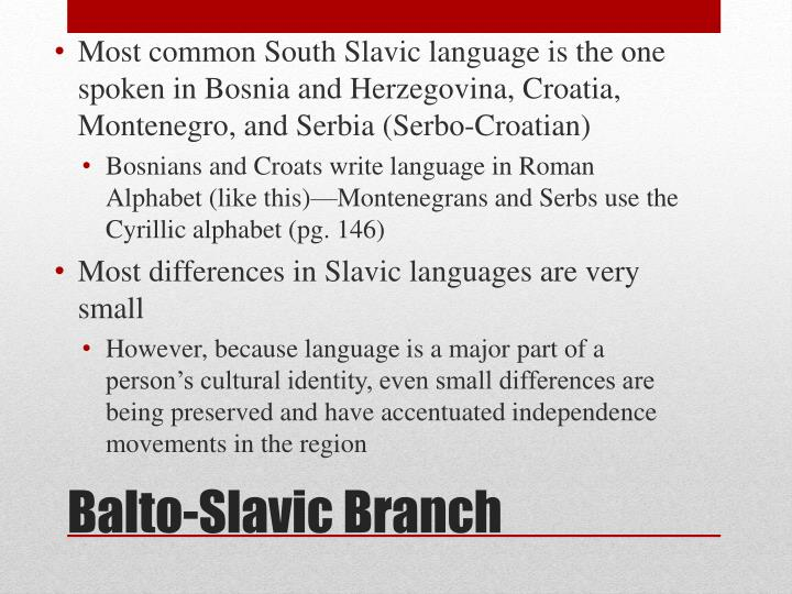 Most common South Slavic language is the one spoken in Bosnia and Herzegovina, Croatia, Montenegro, and Serbia (Serbo-Croatian)
