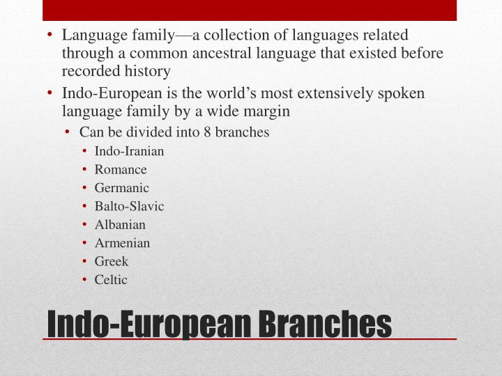 Language family—a collection of languages related through a common ancestral language that existed before recorded history