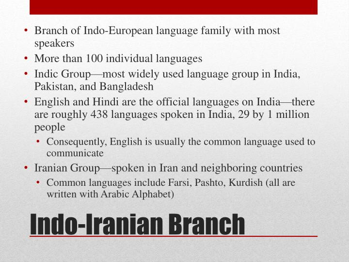 Branch of Indo-European language family with most speakers