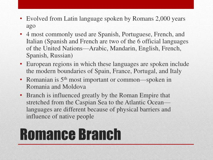 Evolved from Latin language spoken by Romans 2,000 years ago