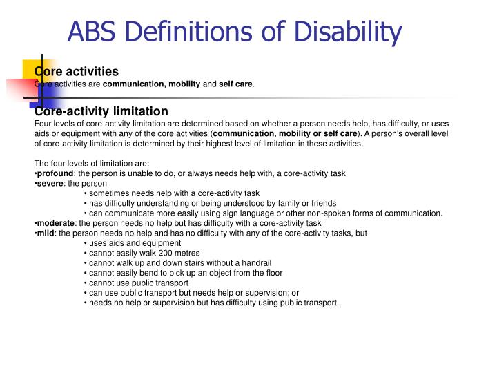 ABS Definitions of Disability