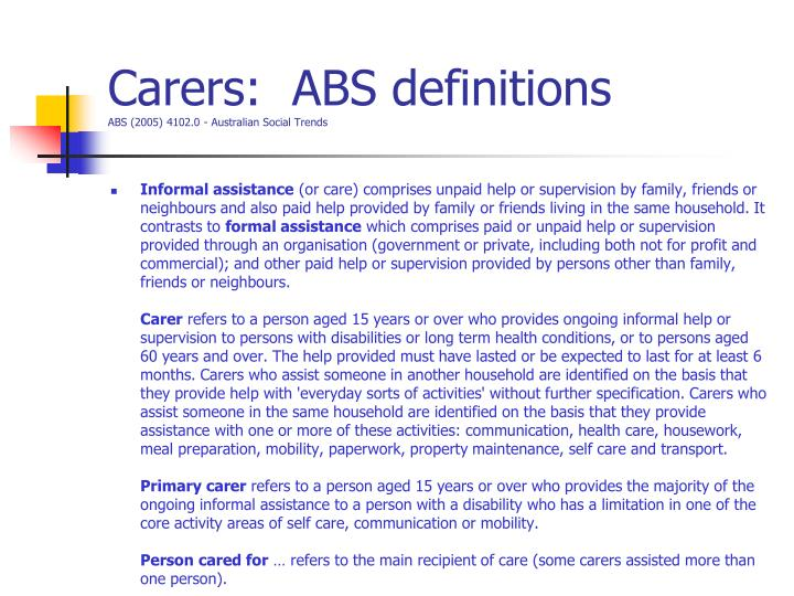 Carers:  ABS definitions