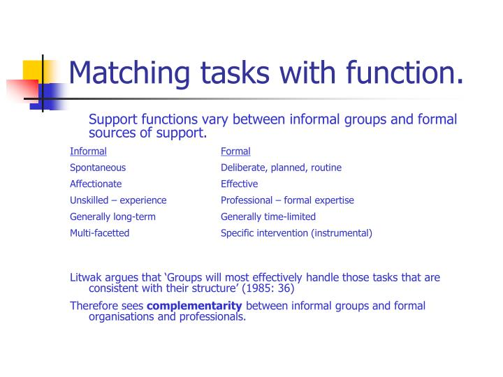 Matching tasks with function.