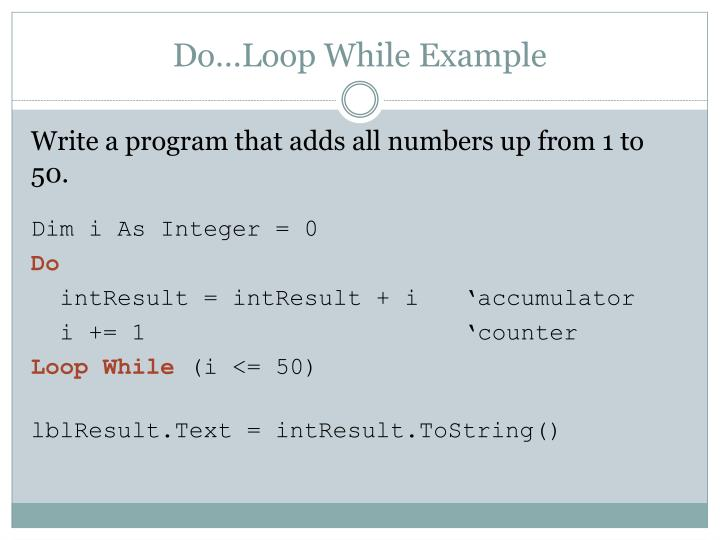 Do…Loop While Example
