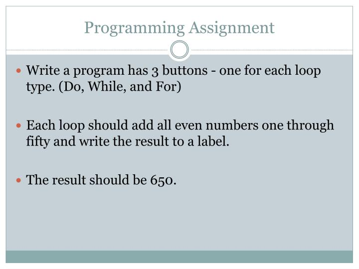 Programming Assignment