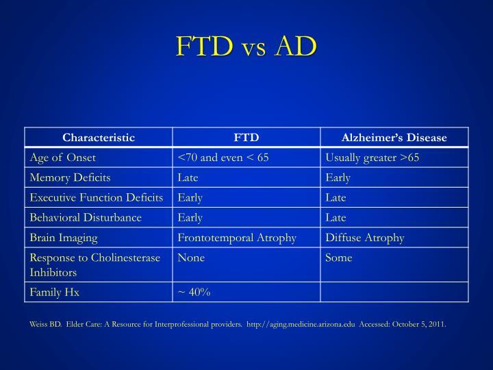 FTD vs AD