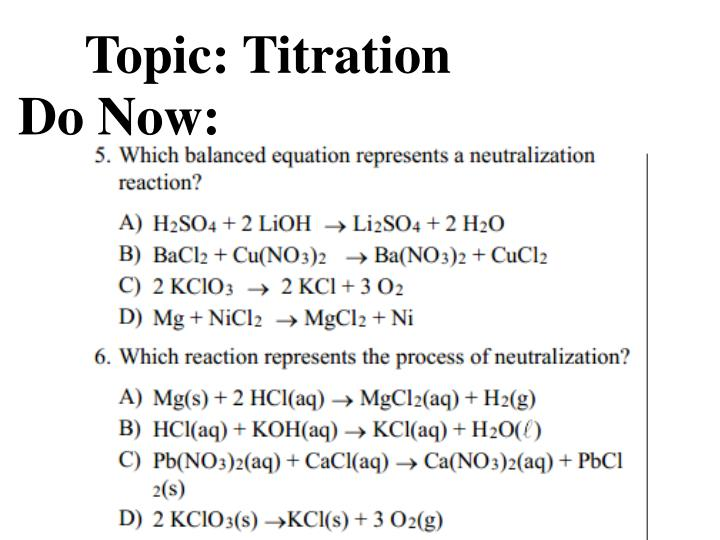 Topic: Titration