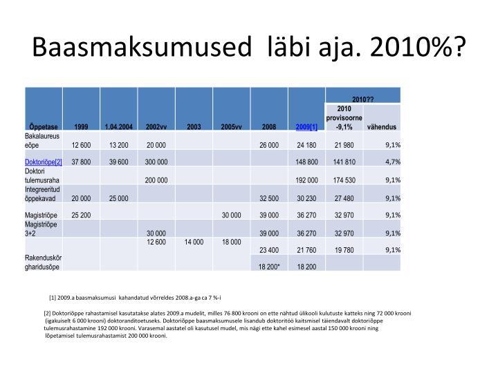 Baasmaksumused  läbi aja. 2010%?