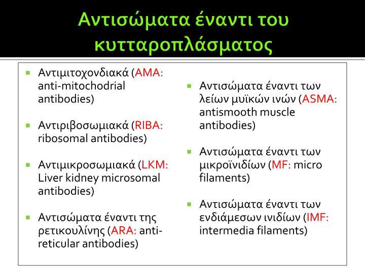 Αντισώματα έναντι του κυτταροπλάσματος