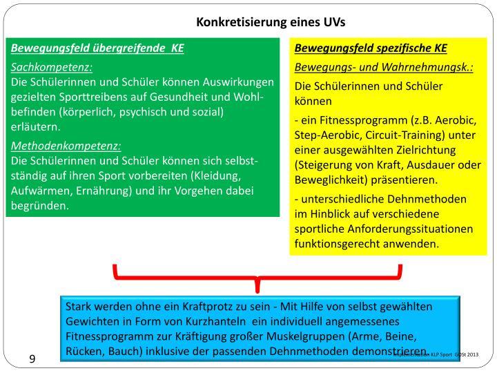 Konkretisierung eines UVs