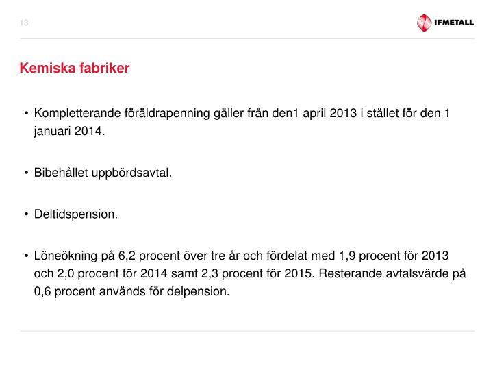 Kompletterande föräldrapenning gäller från den1 april 2013 i stället för den 1 januari 2014.