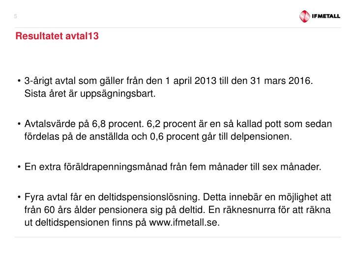 3-årigt avtal som gäller från den 1 april 2013 till den 31 mars 2016. Sista året är uppsägningsbart.