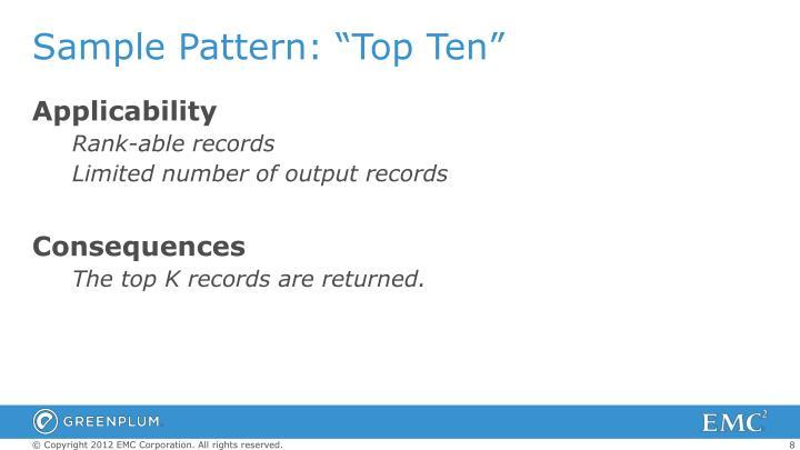 """Sample Pattern: """"Top Ten"""""""