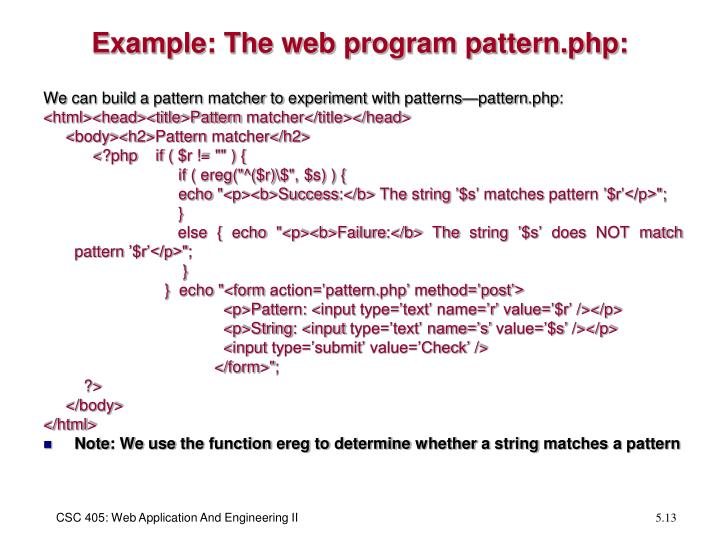 Example: The web program pattern.php: