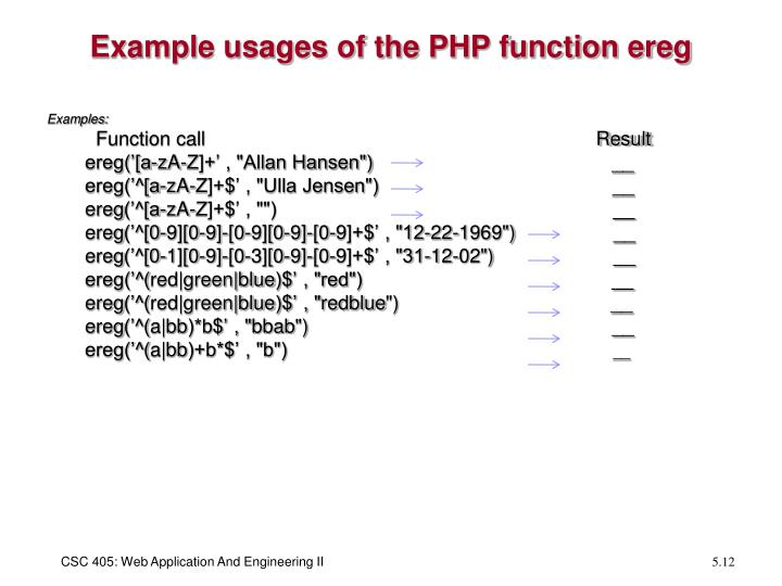 Example usages of the PHP function ereg