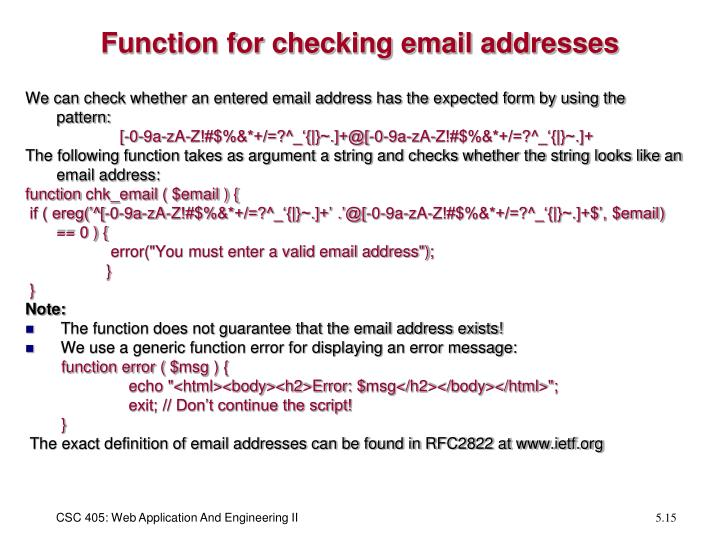 Function for checking email addresses