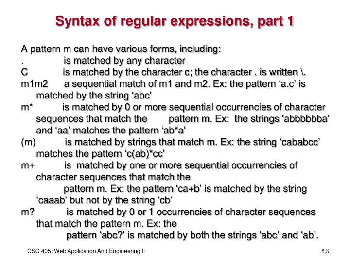 Syntax of regular expressions, part 1