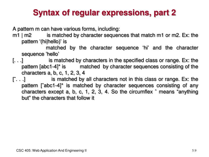 Syntax of regular expressions, part 2