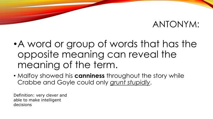 Antonym: