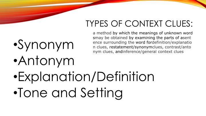 Types of Context Clues: