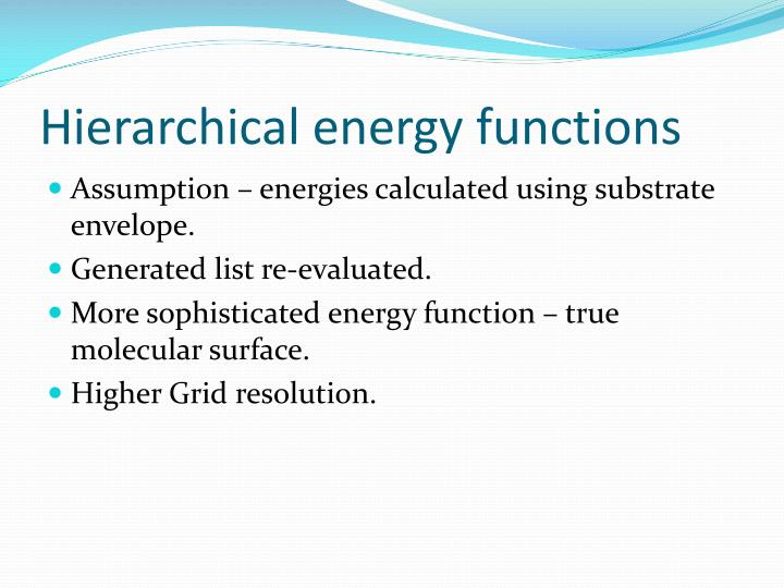 Hierarchical energy functions