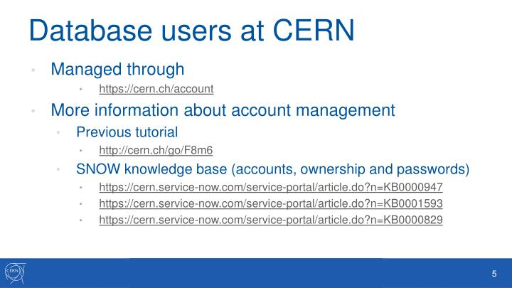 Database users at CERN