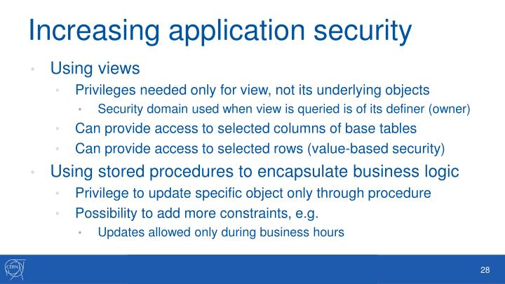 Increasing application security
